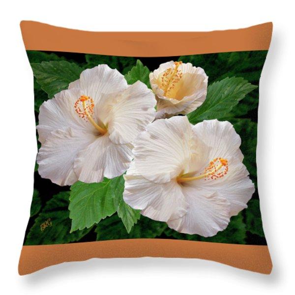 Dreamy Blooms - White Hibiscus Throw Pillow by Ben and Raisa Gertsberg