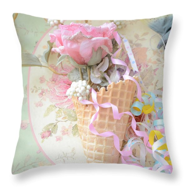Dreamy Cottage Shabby Chic Romantic Floral Art With Waffle Cone And Party Ribbons Throw Pillow by Kathy Fornal