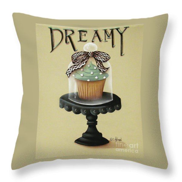 Dreamy Cupcake Throw Pillow by Catherine Holman