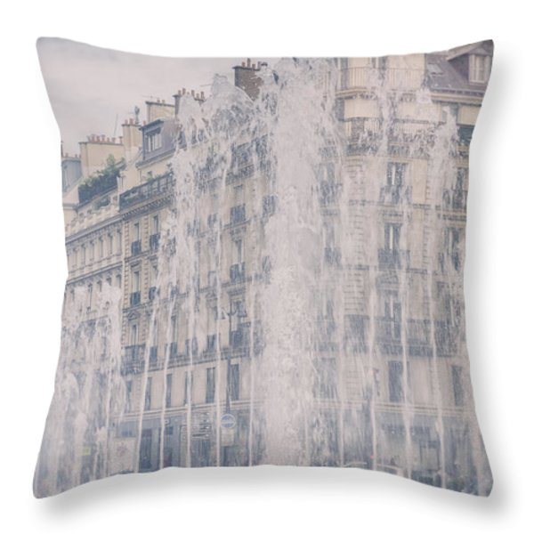 Dreamy Paris Fountains Throw Pillow by Nomad Art And  Design