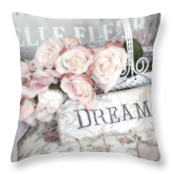 Dreamy Shabby Chic Romantic Cottage Chic Roses In White Basket  Throw Pillow by Kathy Fornal