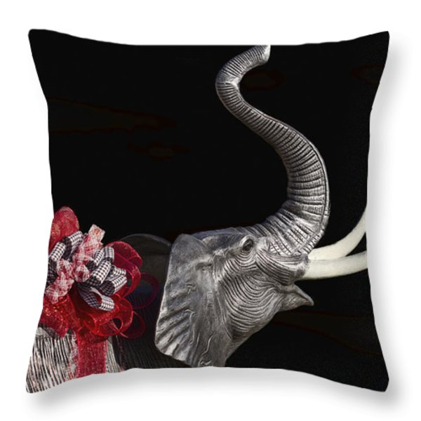 Dressed Up Like Bear Bryant For Christmas Throw Pillow by Kathy Clark