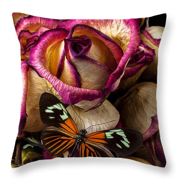Dried Rose And Butterfly Throw Pillow by Garry Gay