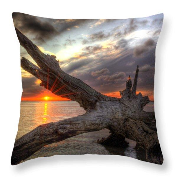 Driftwood Sunset Throw Pillow by Greg and Chrystal Mimbs