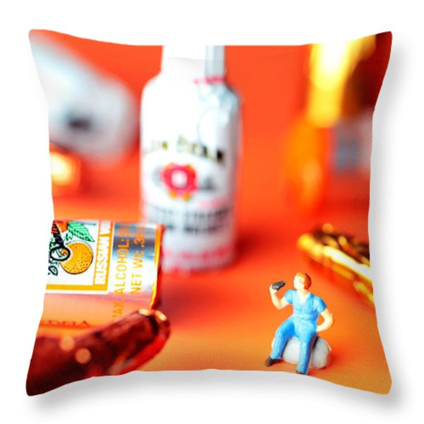 Drinking Among Liquor Filled Chocolate Bottles Throw Pillow by Paul Ge