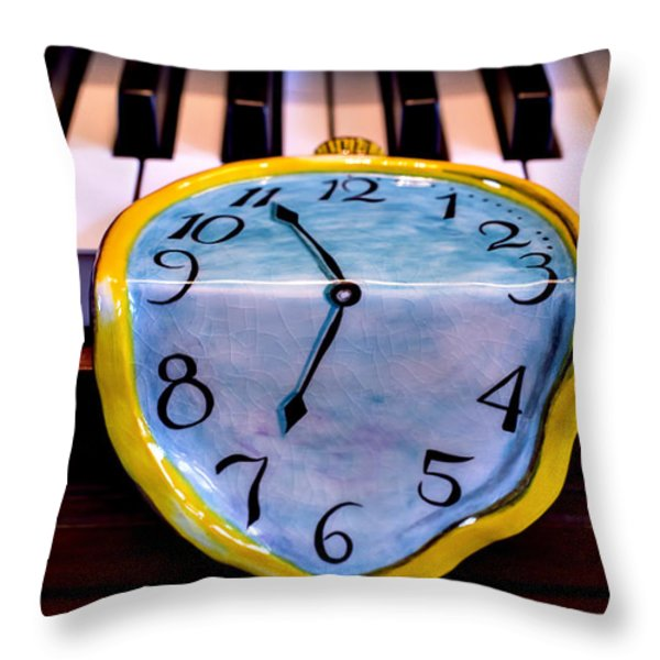 Dripping clock on piano keys Throw Pillow by Garry Gay
