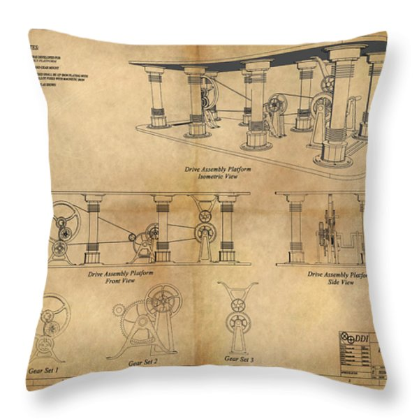 Drive Assembly Platform Throw Pillow by James Christopher Hill