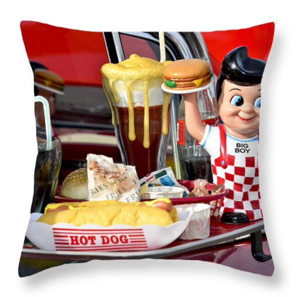 Drive-In Food Classic Throw Pillow by Carolyn Marshall
