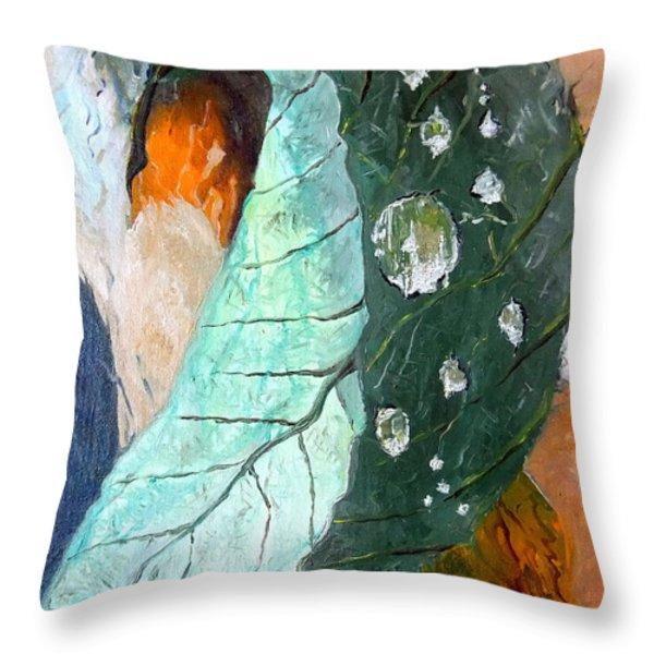 Drops on a leaf Throw Pillow by Daniel Janda