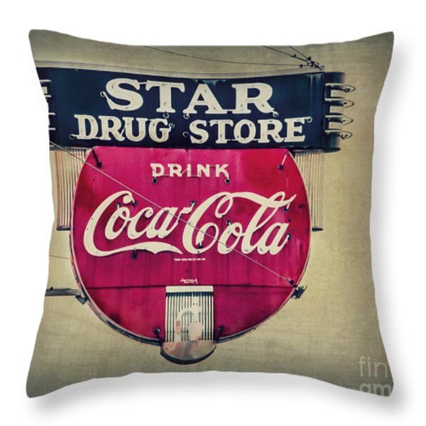 Drug Store Neon Throw Pillow by Perry Webster
