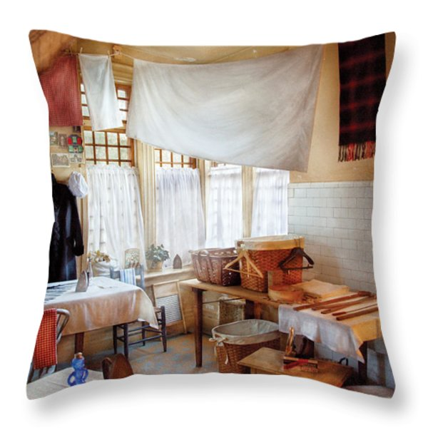 Dry Cleaner - The laundry room Throw Pillow by Mike Savad