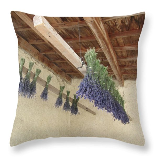 Drying Lavender Throw Pillow by Pema Hou