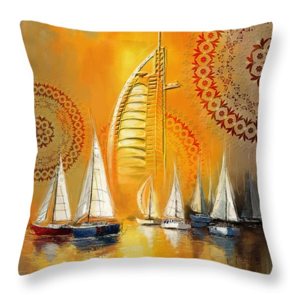 Dubai Symbolism Throw Pillow by Corporate Art Task Force