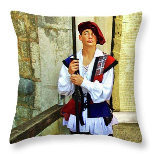 Dubrovnik Guard Throw Pillow by Joan  Minchak