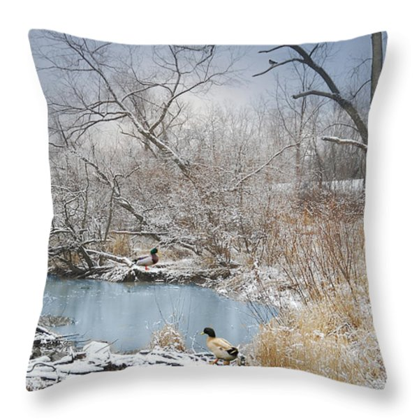 Ducks By The Pond Throw Pillow by Mary Timman