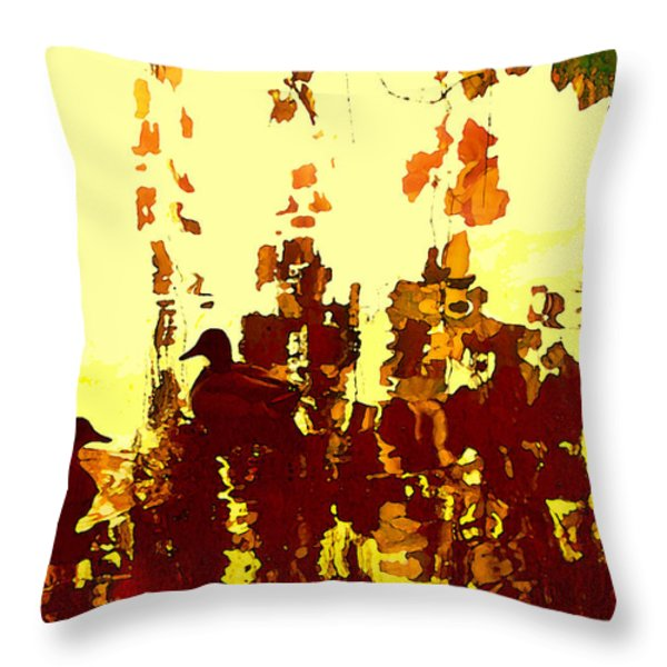 Ducks On Red Lake 2 Throw Pillow by Amy Vangsgard