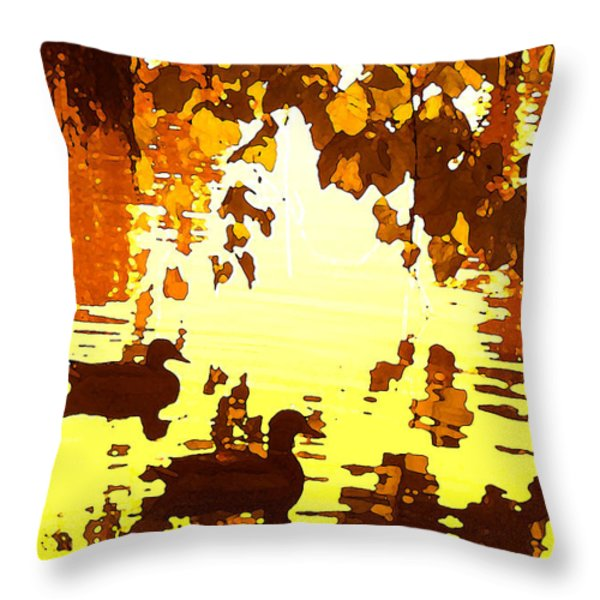 Ducks On Red Lake B Throw Pillow by Amy Vangsgard