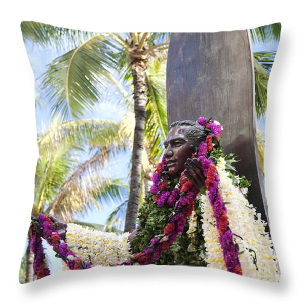 Duke Kahanamoku Covered in Leis Throw Pillow by Brandon Tabiolo