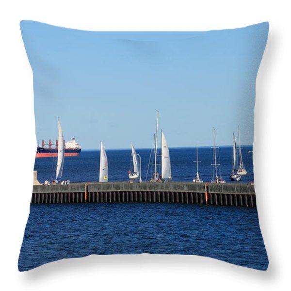 Duluth Mn Harbor Throw Pillow by Lori Tordsen