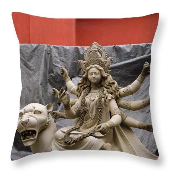 Durga In Kumartuli Throw Pillow by Shaun Higson