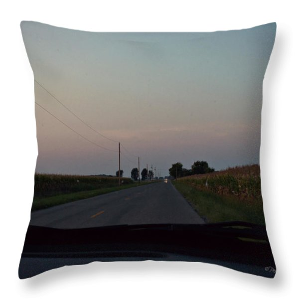 Dusk Between The Corn Stalks Throw Pillow by Paulette B Wright