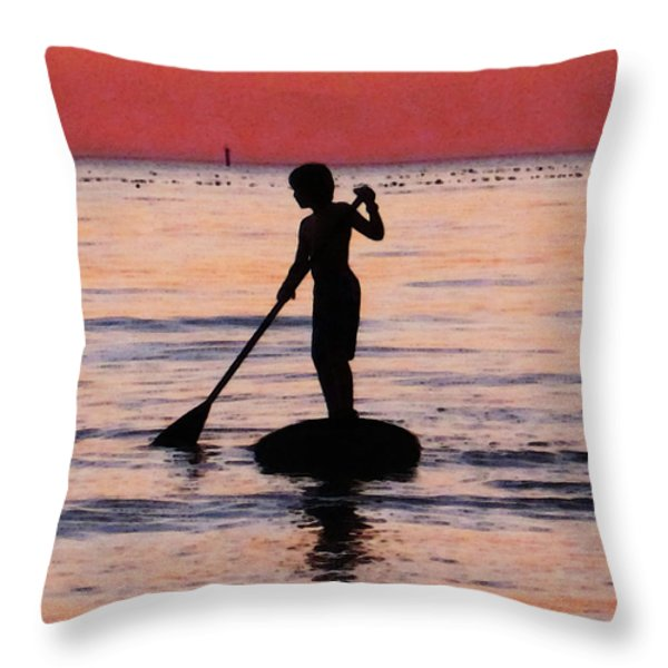 Dusk Float - Sunset Art Throw Pillow by Sharon Cummings