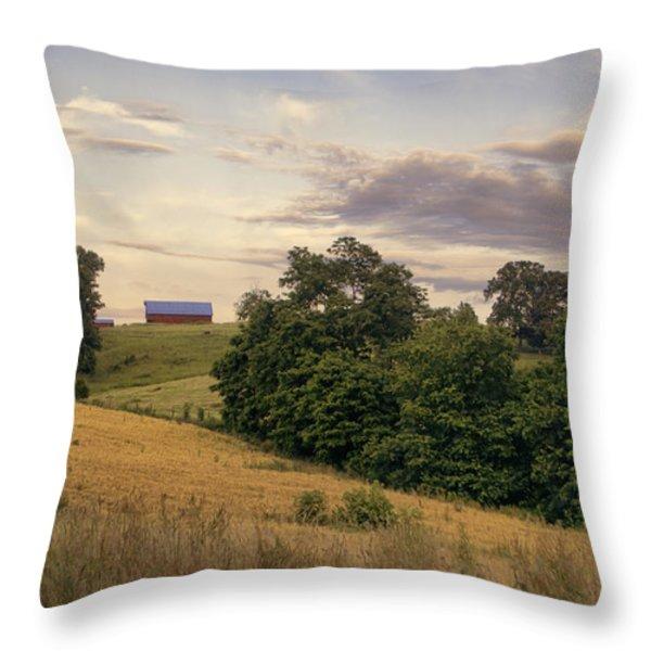 Dusk On The Farm Throw Pillow by Heather Applegate