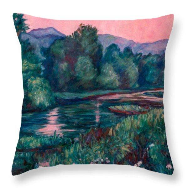 Dusk On The Little River Throw Pillow by Kendall Kessler