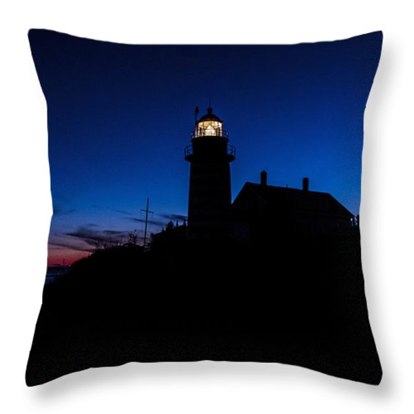 Dusk Silhouette At West Quoddy Head Lighthouse Throw Pillow by Marty Saccone