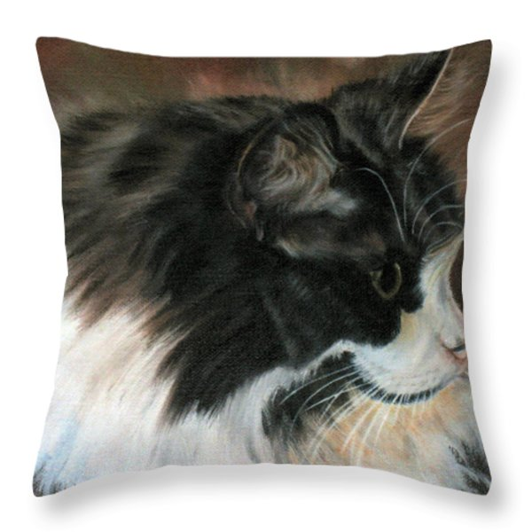 Dusty Our Handsome Norwegian Forest Kitty Throw Pillow by LaVonne Hand