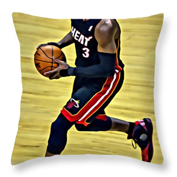 Dwyane Wade Portrait Throw Pillow by Florian Rodarte