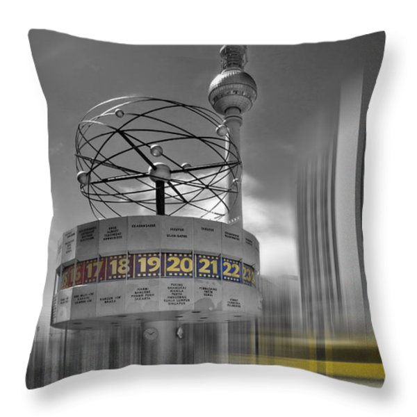 Dynamic-art Berlin City-centre Throw Pillow by Melanie Viola