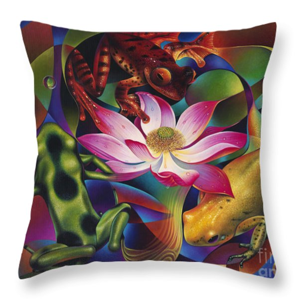 Dynamic Frogs Throw Pillow by Ricardo Chavez-Mendez