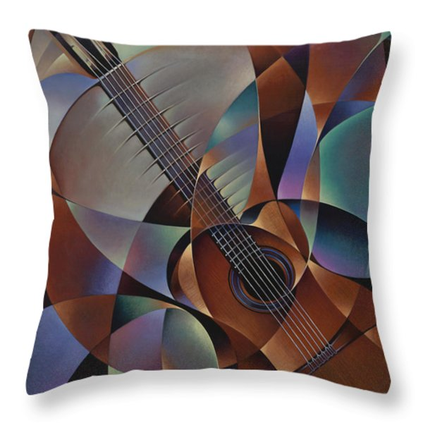 Dynamic Guitar Throw Pillow by Ricardo Chavez-Mendez