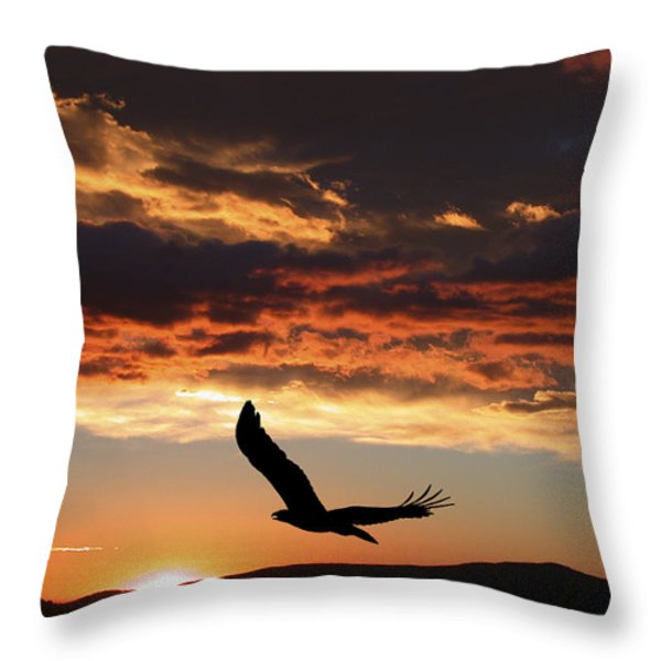 Eagle At Sunset Throw Pillow by Shane Bechler