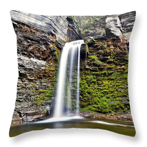 Eagle Cliff Falls Throw Pillow by Frozen in Time Fine Art Photography