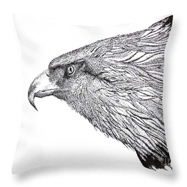 Eagle Head Drawing Throw Pillow by Mario Perez