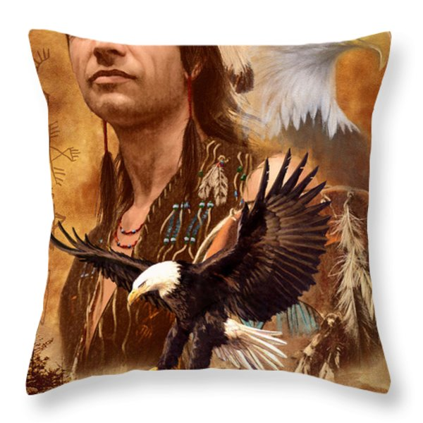 Eagle Montage Throw Pillow by Garry Walton