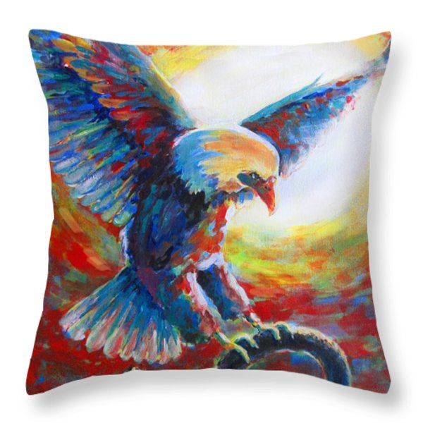 Eagle Takes Charge Throw Pillow by Tamer and Cindy Elsharouni