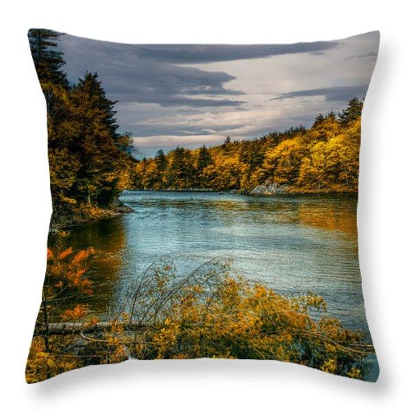 Early Autumn Along The Androscoggin River Throw Pillow by Bob Orsillo
