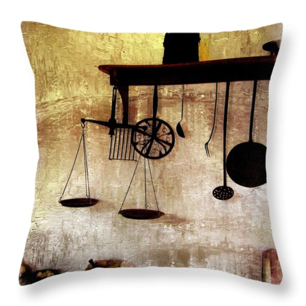 Early Kitchen Tools Throw Pillow by Marcia Lee Jones