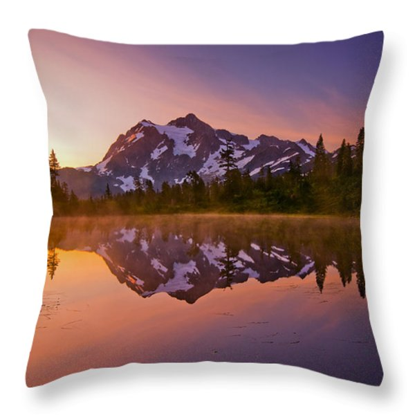 Early Morning at Picture Lake Throw Pillow by Darren  White