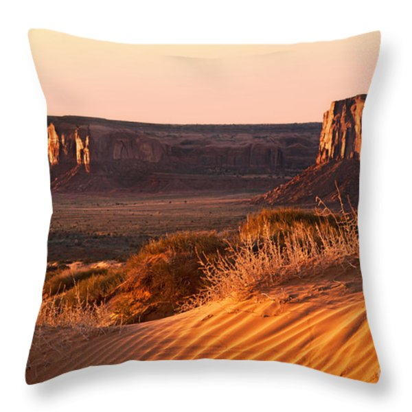 Early morning in Monument Valley Throw Pillow by Jane Rix