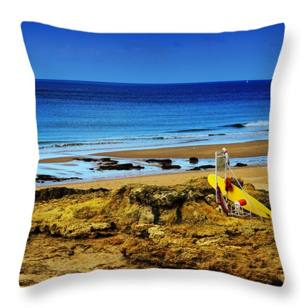 Early Morning On The Beach Throw Pillow by Marco Oliveira