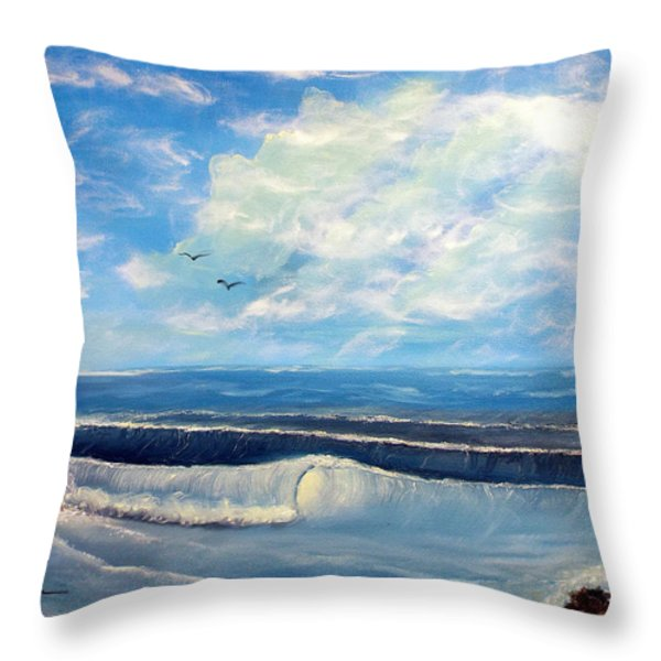 Early Morning Surf Throw Pillow by Joyce Krenson