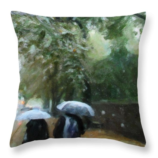 Early Snow Throw Pillow by Michael Pickett