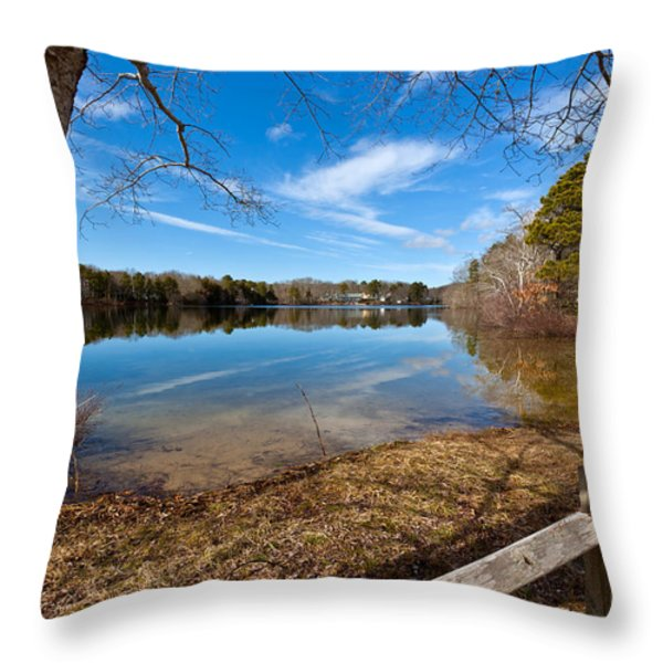 Early Spring On Long Pond Throw Pillow by Michelle Wiarda