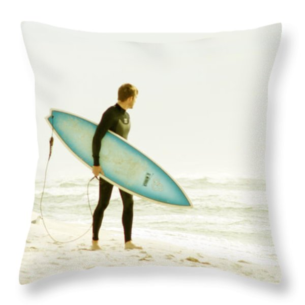 Early Surf Throw Pillow by Lindy Brown