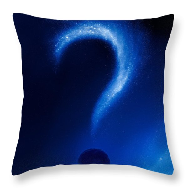 Earth and question mark from stars Throw Pillow by Johan Swanepoel