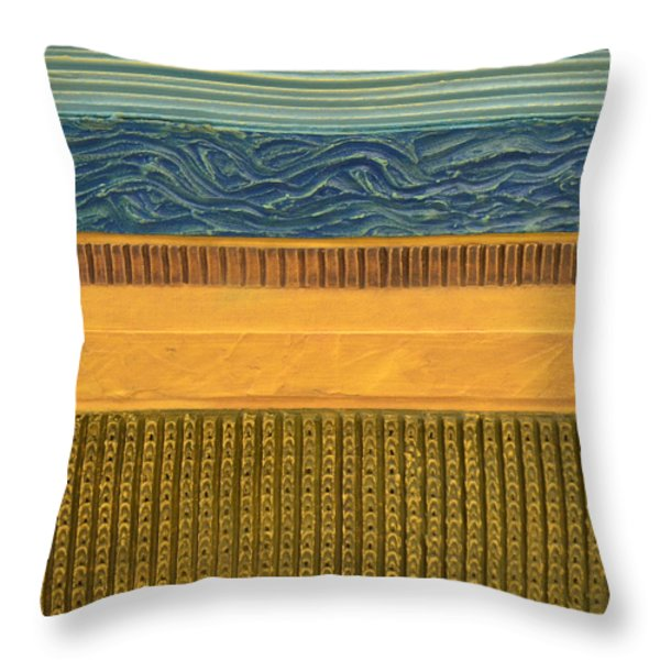 Earth Layers Abstract l Throw Pillow by Michelle Calkins